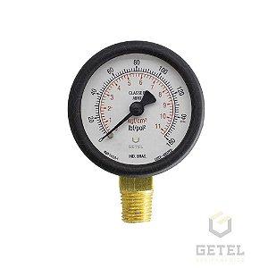 "Manômetro Micromatic 1/4"" Latão - 52mm - 0/160 kgf/cm2"