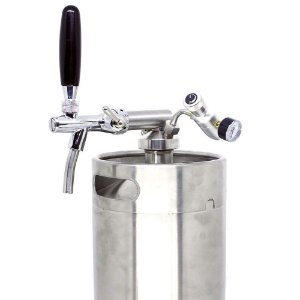Tampa Growler em Inox c/ Torneira Italiana e Reguladora CO2