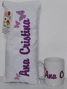 Kit Presente Almofadinha + Caneca Borboleta Lilás