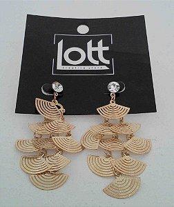Brinco dourado com diversos leques (cod1140)