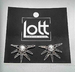 Bringo geométrico prata envelhecido com strass (cod1196)