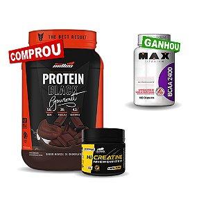 Kit Protein Black 840g + Creatina Leader 150g - (Grátis BCAA 100 cápsulas Max)