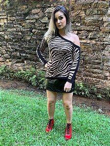 Blusa de Trico Zebra com Ombro Aberto