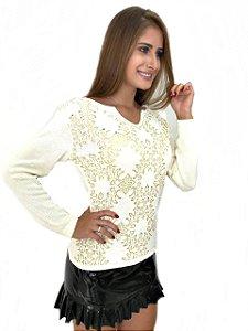 Blusa de Trico Detalhe Flores com Brilho