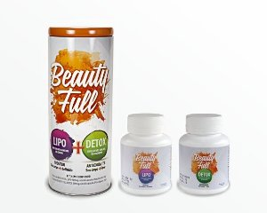 (1 KIT) KIT 2 EM 1 BEAUTY FULL LIPO + DETOX 500MG COM 120 CÁPSULAS
