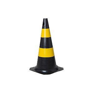 Cone em PVC 50cm preto e amarelo