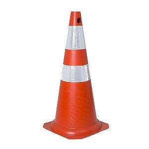 Cone flexível 75cm laranja e branco