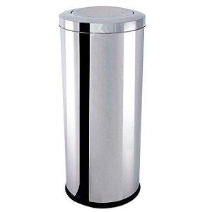 Lixeira Inox com Tampa Basculante 28,17 litros - Ø 25 x 60 cm