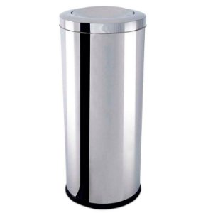 Lixeira Inox com Tampa Basculante 47 litros - Ø 30 x 70 cm