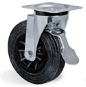 """Rodízio giratório de 8"""" com freio para container de lixo"""