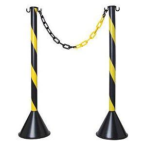 Pedestal Plástico Zebrado Preto/Amarelo 90cm Plastcor