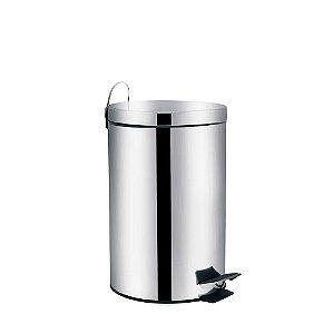 Lixeira em aço inox com pedal e balde interno 12 litros - MOR