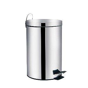 Lixeira em aço inox com pedal e balde interno 3 litros - MOR