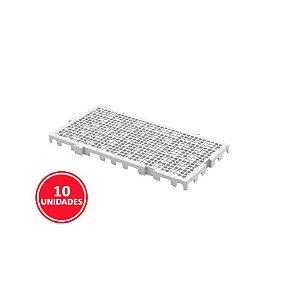 Kit 10 Estrados Plásticos 50x25x2,5cm Branco
