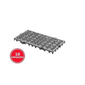 Kit 10 Estrados Plásticos 50x25x2,5cm Cinza