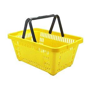 Kit 05 Cestinhas Plásticas para Compras 18 litros Amarela Novel
