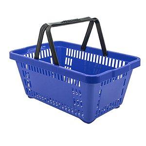 Kit 05 Cestinhas Plásticas para Compras 18 litros Azul Novel