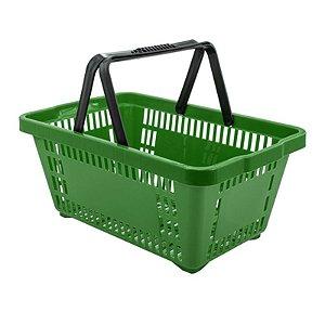 Kit 05 Cestinhas Plásticas para Compras 18 litros Verde Novel