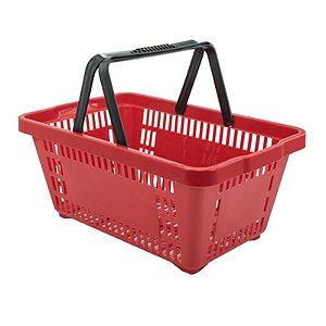 Kit 05 Cestinhas Plásticas para Compras 18 litros Vermelha Novel