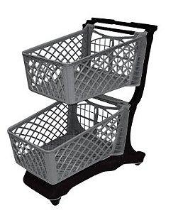 Carrinho para compras em PVC 120 litros com duas cestas