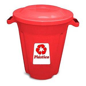 Lixeira tipo balde com tampa e alça 60 litros