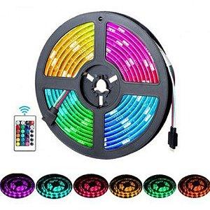 Fita Led 5050 RGB 5m Com Controle Fonte 12v - 82417
