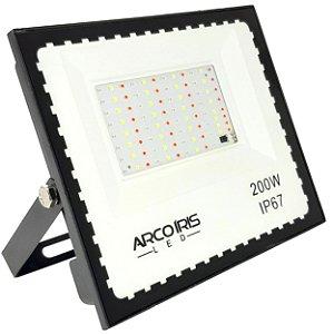 Refletor Led 200w Colorido Rgb 16 Cores Com Controle Ip67 Branco - 81307