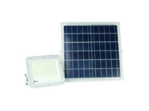 Kit Refletor Led 100w Branco Frio Com Placa Solar - 83038