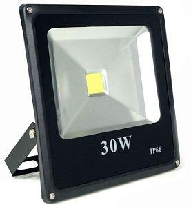 Refletor Holofote Led 30w IP66 Branco Frio Preto - 81309-1