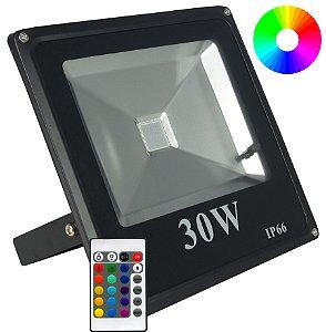 Refletor Holofote Led 30w RGB Preto - 81312-1
