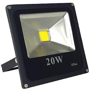 Refletor Led 20w Holofote IP66 Branco Frio Bivolt - Preto - 81308-1