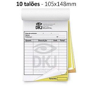 10 talões 105x148 mm - 1º via branca 2º via amarela 53g - blocagem, serrilha e grampo