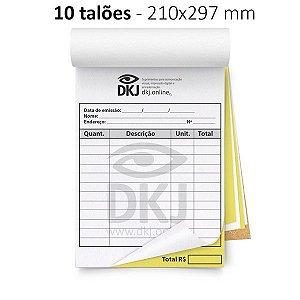 10 talões 210x297 mm - 1º via branca 2º via amarela 53g - blocagem, serrilha e grampo