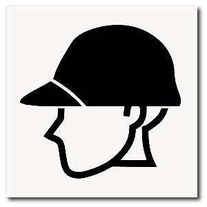 Placa uso de capacete de EPI 20x20 cm em ps 2mm