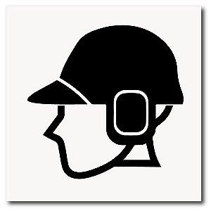Placa capacete com protetor de ouvido de EPI 20x20 cm em ps 2mm