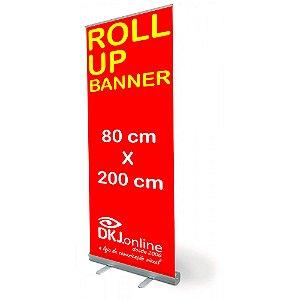 Roll up - porta banner de alto padrão em alumínio 80 x 200 cm