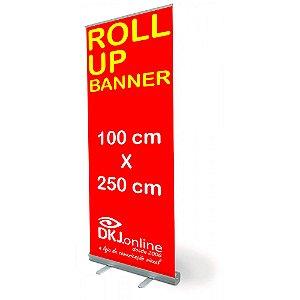 Roll up - porta banner de alto padrão em alumínio 100 x 250 cm