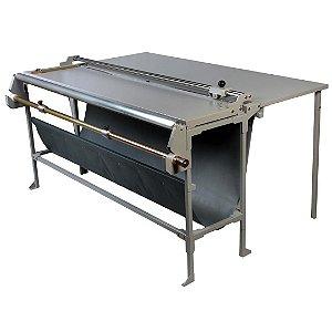 Refiladora duplo eixo 106 cm com desbobinador e mesa para papel, lona e vinil adesivo Excentrix