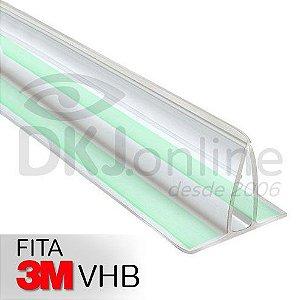 Perfil fixa placa em pvc transparente 2 metros com dupla face 3M VHB
