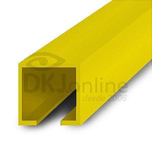 Perfil trilho 12x12 mm abertura de 2 mm em PS amarelo barra 3 metros