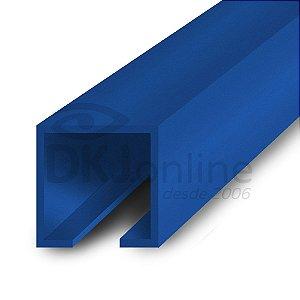 Perfil plástico trilho 12x12 mm abertura de 2 mm em PS (poliestireno) azul barra 3 metros