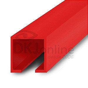 Perfil trilho 12x12 mm abertura de 2 mm em PS vermelho barra 3 metros