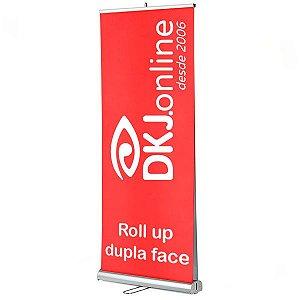 Roll up - porta banner de alto padrão em alumínio dupla face 80 x 200 cm