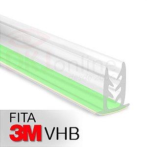 Perfil fixa placa traquitana em pvc transparente 2 metros com fita dupla face 3M VHB