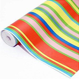 Plástico auto-adesivo decorativo modelo arco-íris bobina de 10 metros x 45cm
