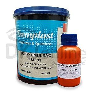 Foto emulsão FSR31 900 ml + sensibilizante diazo 5 gr resistente a solvente e u.v.