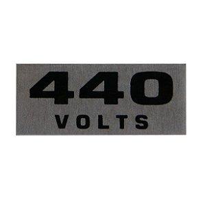 Etiqueta de voltagem em alumínio 440 volts cartela com 16 etiquetas de 1,5 x 3,5 cm