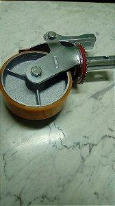 """Rodízio galvanizado 6"""" Giratório com Trava, Roda Poliuretano, para uso em Andaime"""