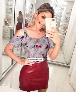 Blusinha Xadrez Floral