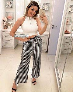 Calça Pantalona Listras Preto e Branco